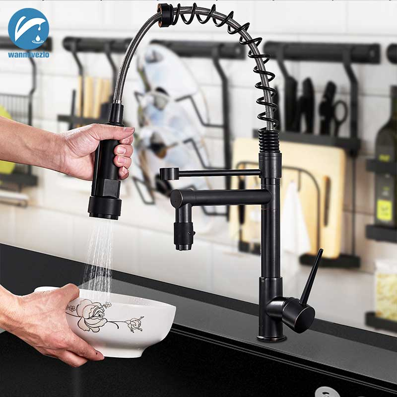 Blacken Spring Kitchen Faucet Pull Out Side Sprayer Dual Spout Single Handle Mixer Tap Sink Faucet 360 Rotation Kitchen Faucets