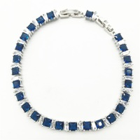 Women Sterling Silver Link Chain Bracelets White color blue stone Jewelry Christmas Gift Free shipping
