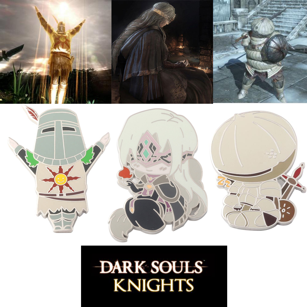 RJ Hot Cute Cartoon Game Dark Souls 3 Fire Keeper Onion Knight Pachi Figure Brooches Pins For Men Women Kids Coat Shirt Broche