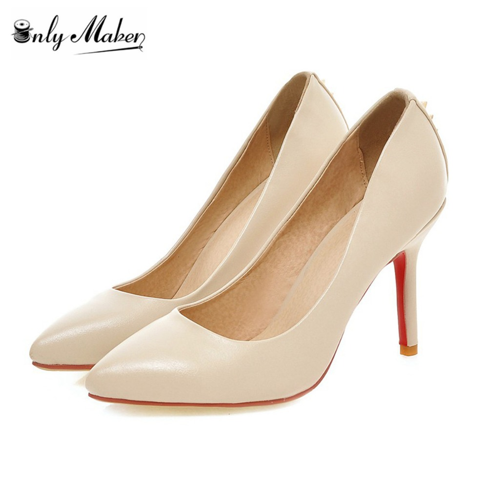 ФОТО Onlymaker Genuine Leather Shoes Women's Pumps Pointed Toe Shoes Fashion Shoes Spring 9cm Thin Heel Pumps For Office Lady