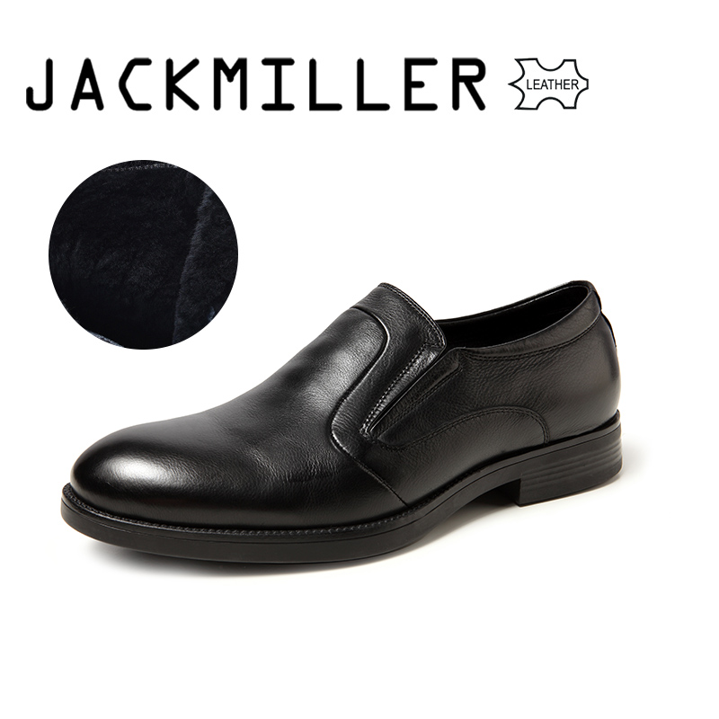 Jackmiller Top Brand Men s Dress Shoes Winter Warm Office Men Shoes High Quality Wool Lining
