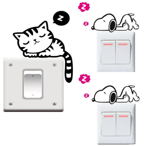 Us 0 5 49 Off 5pcs Lot Hot New Removable Funny Cat Dog Switch Art Vinyl Decal Home Decor Wall Window Stickers In Wall Stickers From Home Garden On