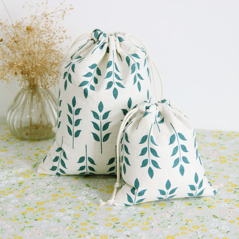 Soft Cotton Linen Drawstring Bag Literary Wheat Ear Print Leaves Women Home Storage Small Coin Purse Travel Portable Phone Pouch