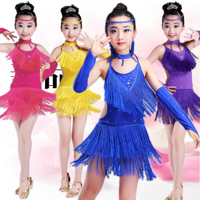 Free Shipping Sequin Fringe Blue Pink Purple Salsa Dress Child Girls Kids Latin Dresses Girls Latin Dance Costumes