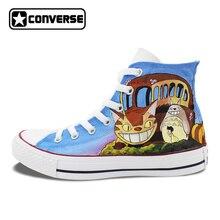 Для мужчин Для женщин Converse All Star человек женская обувь Тоторо кошка автомобиля Дизайн ручной росписью обувь аниме высокие кроссовки рождественские подарки
