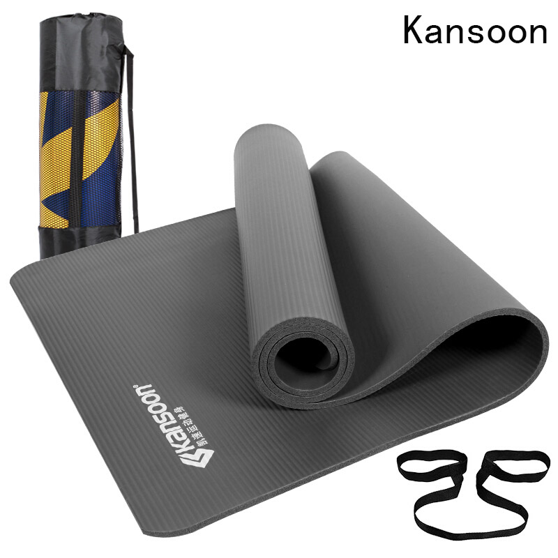 Kansoon 10mm Wide Yoga Mat Natural Rubber Travel Folding Soft Fitness Mats Pilates Exercise Yogamat NBR Non Slip Pad Gymnastics gymnastics mat thick four folding panel fitness exercise 2 4mx1 2mx3cm