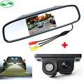 3in1 Alarme Sonoro Assistência Sensores de Estacionamento De Vídeo Do Carro Câmera de Visão Traseira + 4.3 polegada Retrovisor Do Carro Monitor Espelho