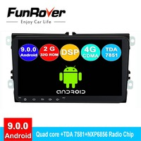 FUNROVER 2 din android 9.0 car dvd multimedia For Volkswagen Passat B7 B6 Golf 5 Polo radio gps navigation system navi autoradio