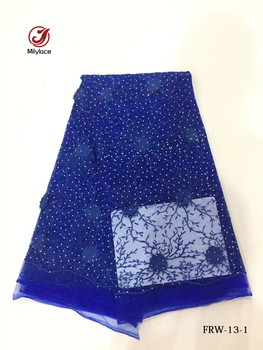 Latest african french lace fabric with charming rhinestones flower pattern lace tissue net lace tulle fabrics for garment FRW-13