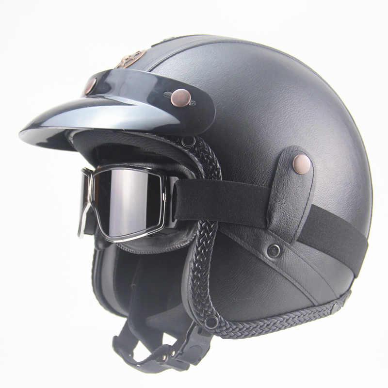 Бесплатная доставка шлемов из искусственной кожи 3/4 мотоциклетный шлем с открытым лицом винтажный мотоциклетный шлем