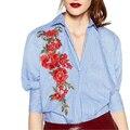Mujeres elegantes Apliques larga a rayas camisa de vestir de algodón de manga tres cuartos suelta blusa gira el collar abajo blusas casuales LT1180