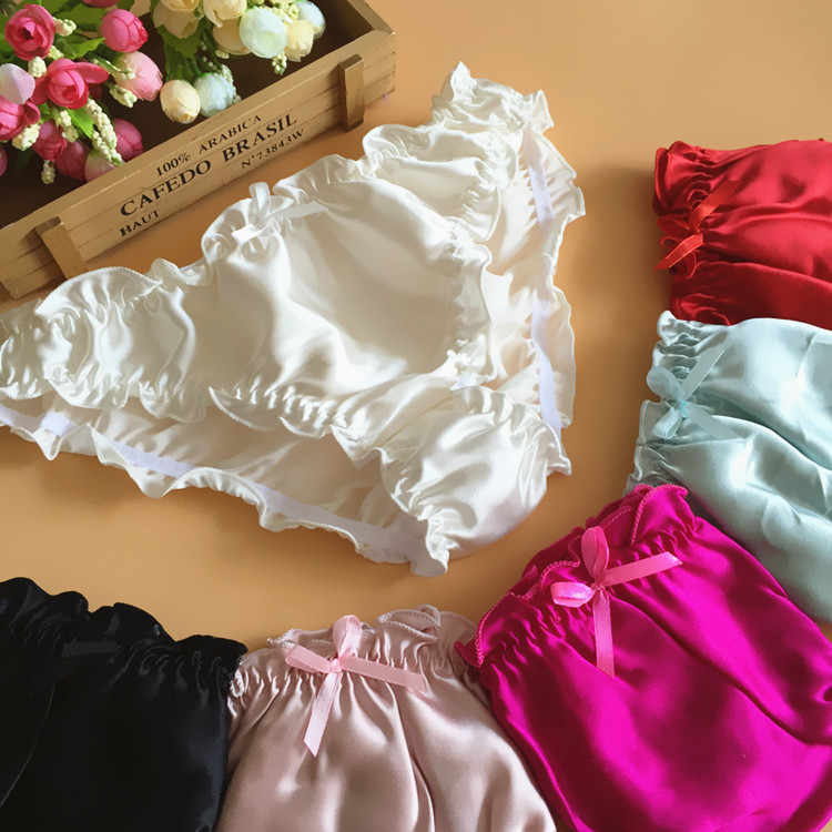 edc749b83 6pcs lot Quality women s mulberry silk panties silk panties female panties  ruffle female briefs