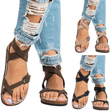 MCCKLE Summer Women Thong Sandals Gladiator Cross Ankle Stra