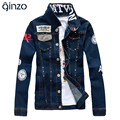 Men's slim English flag patch design rivet jacket Casual dark blue washed denim coat Outerwear