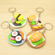 New Design Resin Food Sushi Salmon Keychain Bag Hangging Keyring(China)