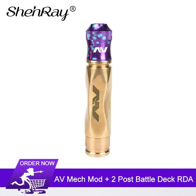 Shenray production AV laiton Gyre mécanique Mod avec 24mm 2 poste de bataille pont RDA avec bouchon modpère Cigarette électronique Vape ki