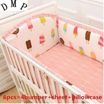 Promotion! 6PCS Baby Crib Cot Bedding Set Baby Bumper Sheet,(4bumper+sheet+pillow cover)