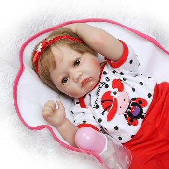 Simulated bebe reborn dolls 22inch stuffed toys silicone reborn baby doll best children gift playmate toys