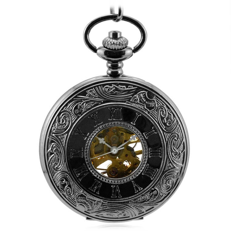 Antique Steampunk Mechanical Hand Wind Flip Double Display Pocket & Fob Watches Black Men's Watches Women's Watch Pendant Gift antique pocket watch transparent steampunk double open hunter gear mechanical hand wind fob time hours with chain pendant gift