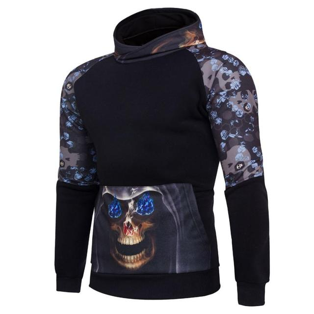 135cfc1aad67 Autumn and winter models Mens  Winter Print Hoodie Hooded Pullover  Sweatshirt Coat Jacket Outwear Skull pattern moletom  AA