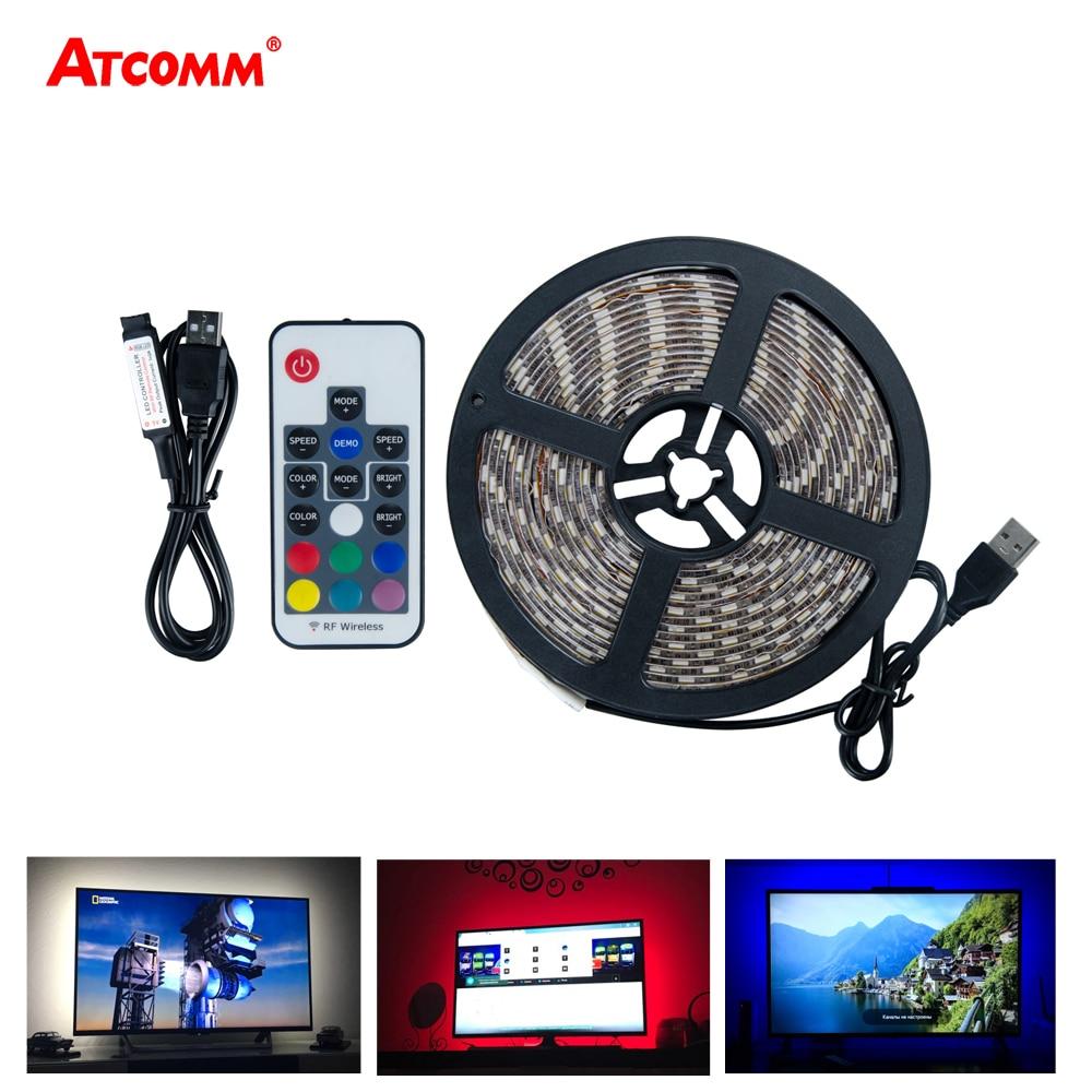 USB RGB LED Strip Light TV Backlight 5V 0.5m 1m 2m 3m 4m 5m Fita RGB LED Tape PC Back illumination Screen Keyboard Lighting(China)