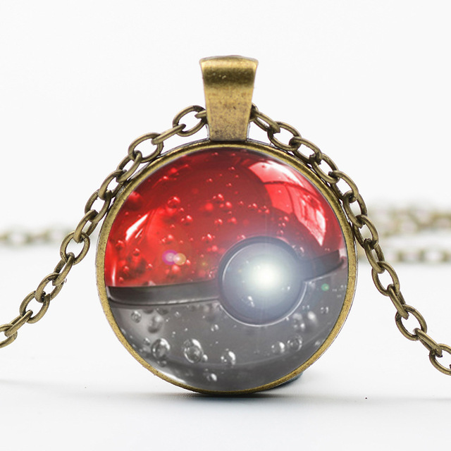 Vintage Pokemon Glass Dome Pendant Necklace Women Men Jewelry