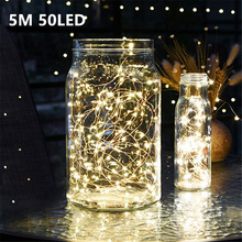 5M 50 LED CR2032 Battery Operated LED String Lights for Xmas Garland Party Wedding Decoration Christmas Flasher Fairy Lights 8m 50 led fairy lights battery operated icicle led christmas string lights for outdoor indoor wedding xmas party decoration