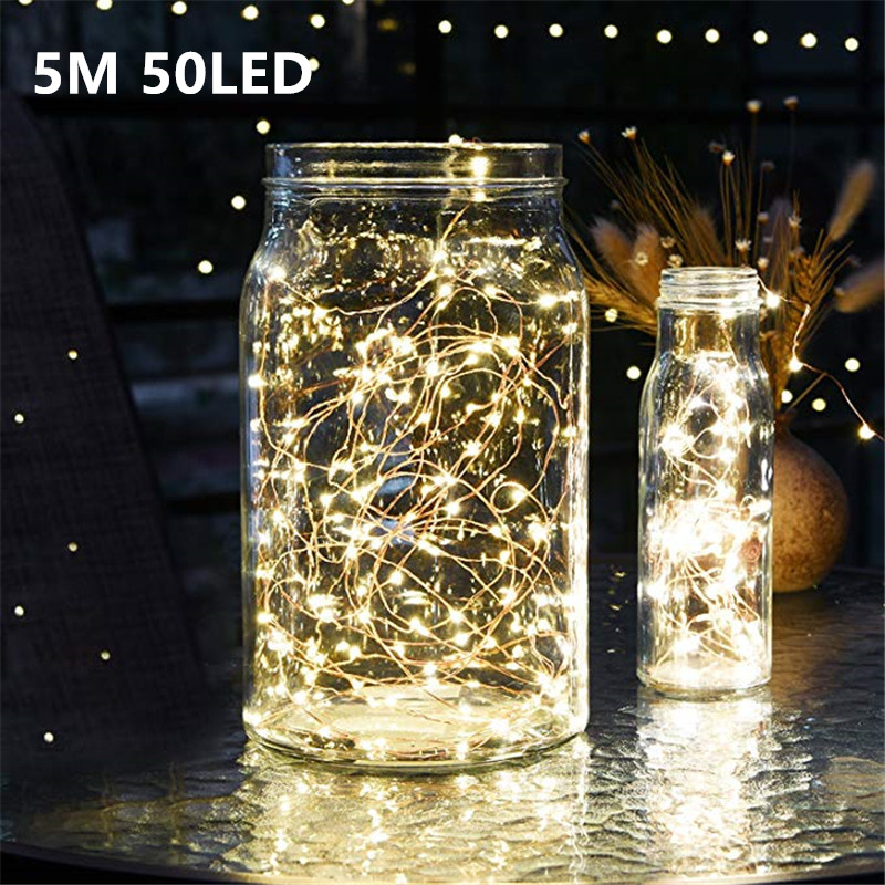 5M 50 LED CR2032 Battery Operated LED String Lights for Xmas Garland Party Wedding Decoration Christmas Flasher Fairy Lights