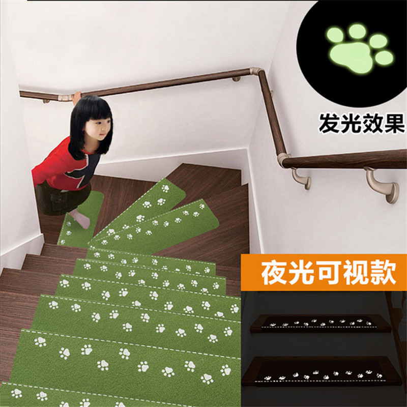 Indoor Staircase Self-adhesive Fluorescent Mat Dog Footprint Claw Pattern Carpet