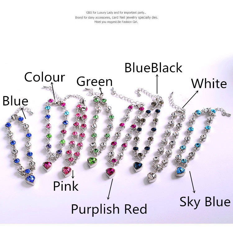 LYIYUNQ Fashion Bracelet Hot Wedding Female Heart Crystal Bracelets For Women Luxury Temperament Silver-Color Fine Jewelry Gift 1