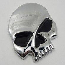 Silver CrossBones Car Sticker Decoration Motorcycle Sticker 3D Cool Metal Skull Sticker Motorcycle Truck Emblem