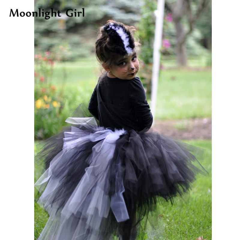 a6ab2c96e1 Cute White Black Mephitis Baby Girl Tutu Skirt Kids Skirts Animal Cosplay  Birthday Party Costume Ball