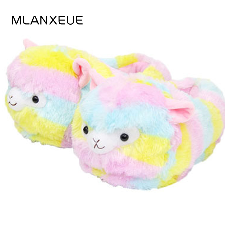 MLANXEUE Colorful Sheep Plush Women Cotton Slippers Lovely Cartoon Mini Small Sheep Lady Slippers Shoes Women Warm Slippers цена 2017