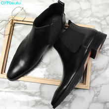 Brand Handmade Slip-on Genuine Leather Chelsea Boots Luxury Handcraft Casual Ankle Boots High Quality Mens Dress Boots