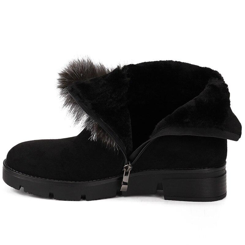 Taille 41 Zip En 36 Bottes Femme Up Karinluna Chaussures Gros Ajouter Fourrure Noir De D'hiver Arrivées Femmes Grande Bottines Solide CtQrdxhosB