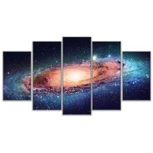 5 Piece/Pcs Galactic Galaxy Landscape Modern Wall Art HD Printed Painting