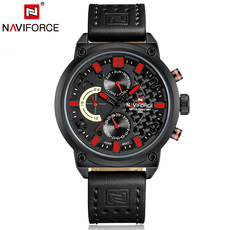 Naviforce Luxury Men's Watches Sports Wristwatch Waterproof Mens Watch 2018 Genuine Leather Watchband relogio masculino база под макияж isadora strobing highlighting stick 01