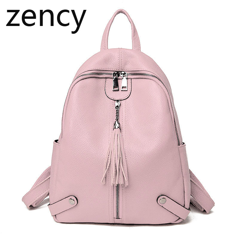 ZENCY Real Genuine Leather Women Backpacks Korean Style Design Ladies Travelling Backpack Cowhide School Ipad Bags
