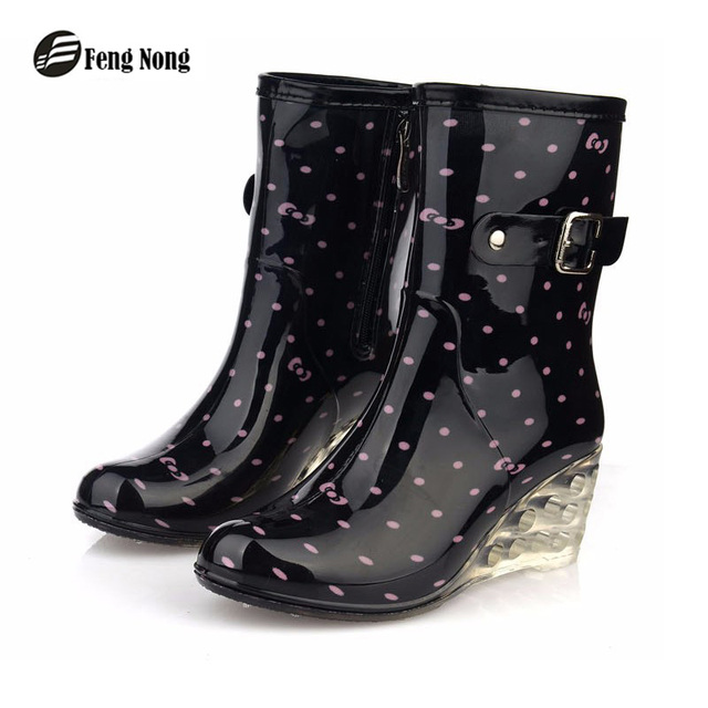 feng Nong new design pvc rain boots waterproof flat shoes woman rain woman water rubber boots good quality botas w052