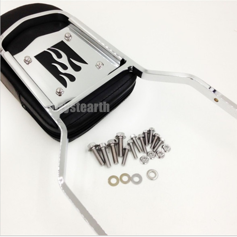 For 97-03 98 99 00 01 02 Honda Shadow ACE 750 VT750 ACE 400 VT400 Chrome Flame Motorcycle Rear Backrest Sissy Bar Cushion Pad shadow of the flame