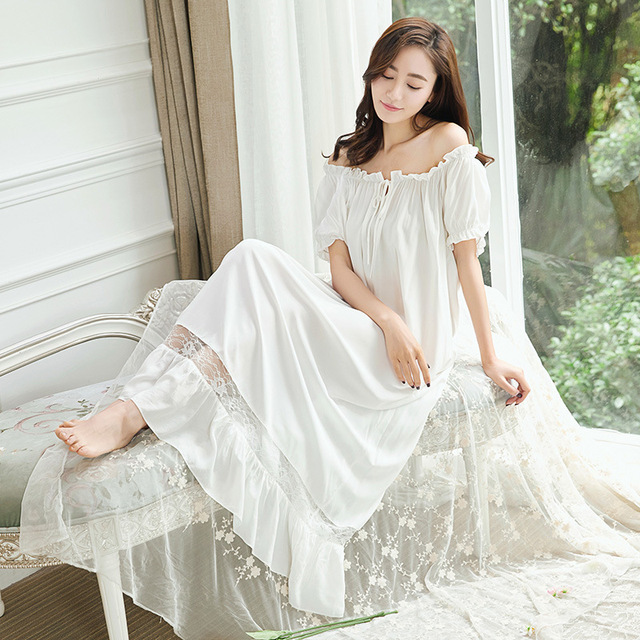 2017 Retro Palace Style Cotton Pregnant Women Nightgown Slash Neck Lace  Sexy Female Nightdress Loose Pregnancy Sleepwear CE971 dc4984799