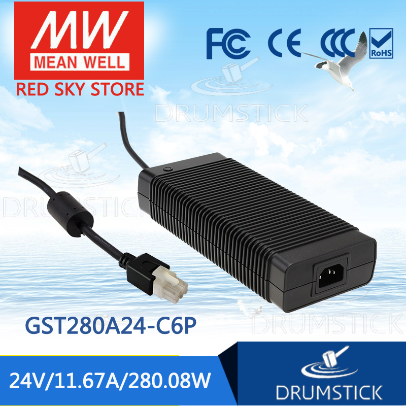 100% Original MEAN WELL GST280A24-C6P 24V 11.67A meanwell GST280A 24V 280.8W AC-DC High Reliability Industrial Adaptor 1mean well original gsm160a24 r7b 24v 6 67a meanwell gsm160a 24v 160w ac dc high reliability medical adaptor