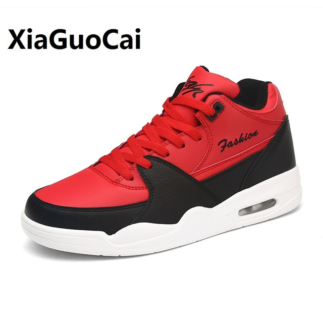 c609fbb64a6 Spring Autumn Man Basketball Shoes Leather High Top Breathable Korean Lace  Up Wear-resistant Walking Flat Shoes Male Sneaker