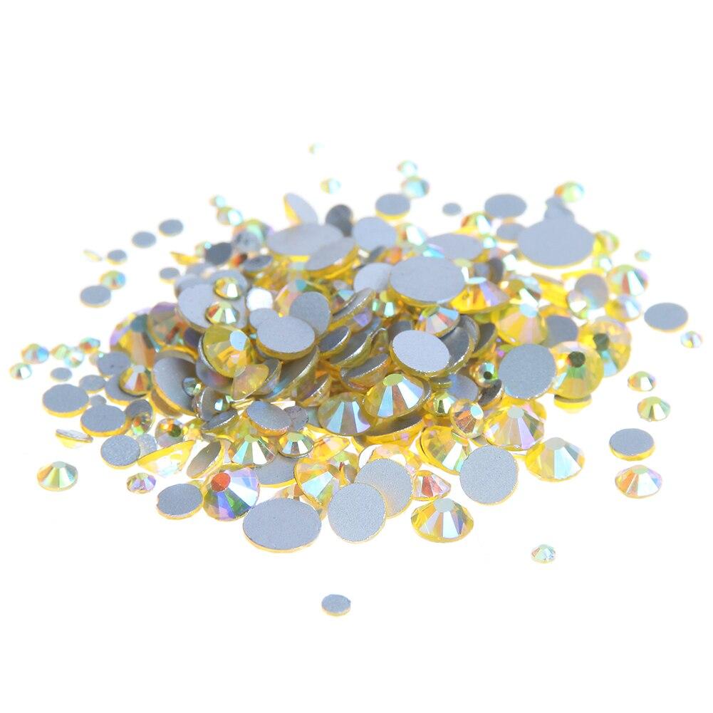 Стекло Самоцветы Crystal Стразы для Гвозди ss3-ss30 и смешанные цитрин AB страз 3D Дизайн ногтей Jewelry Дизайн блеск Аксессуары
