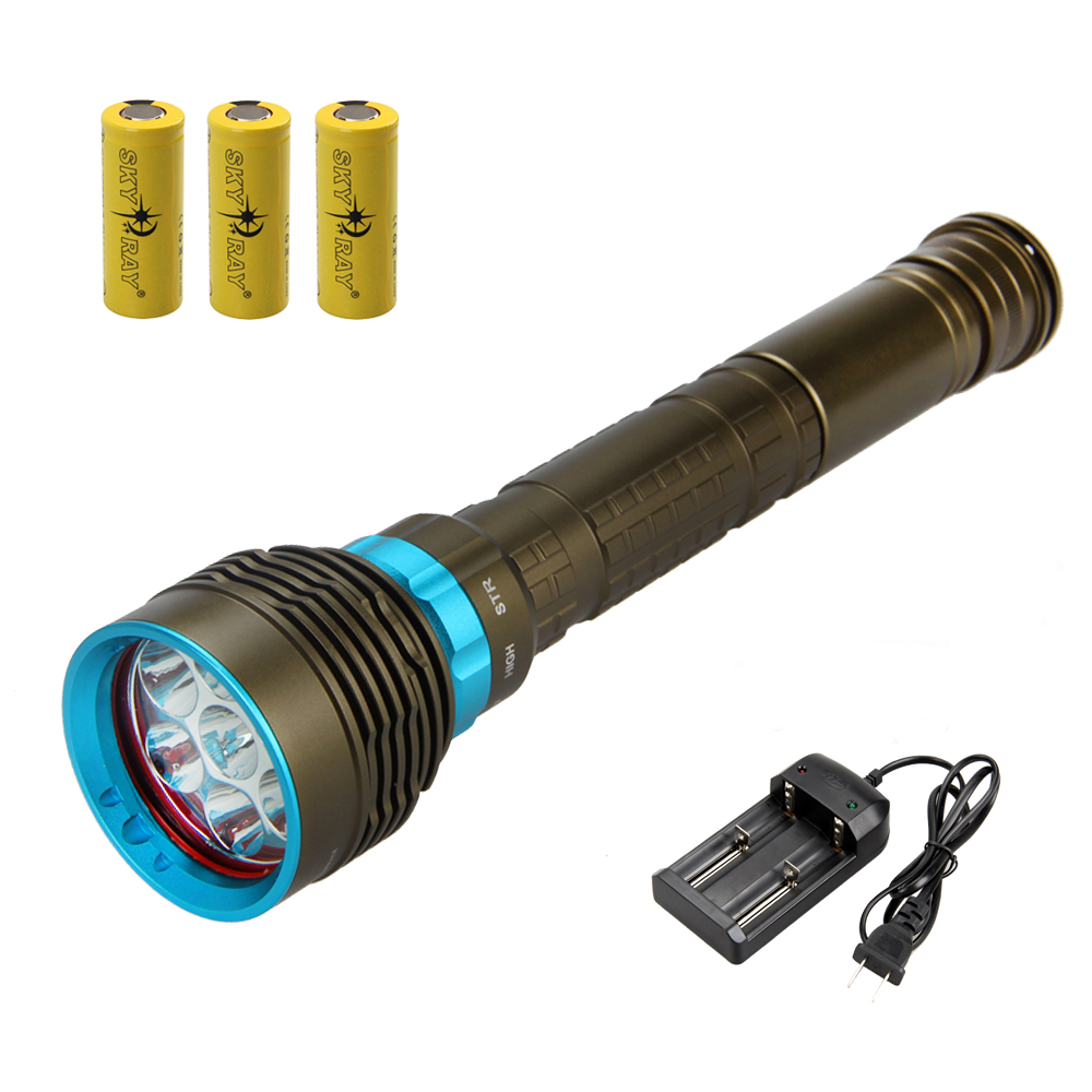 Underwater 100m 10000Lm Diving Flashlight Torch 7x XM-L2 LED Waterproof  Lamp With 3x 6800mAh Battery +Dual Charger