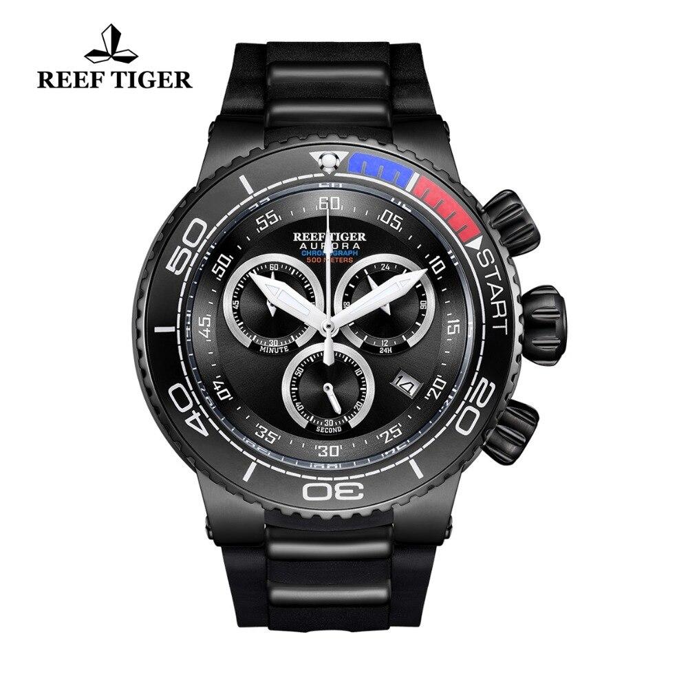 2018 New Reef Tiger/RT Top Brand Luxury Sport Watch Reloj Hombre Men Waterproof Watches Rubber Strap Quartz Relogio Masculino 2018 reef tiger rt top brand sport watch for men luxury blue watches leather strap waterproof watch relogio masculino rga3363
