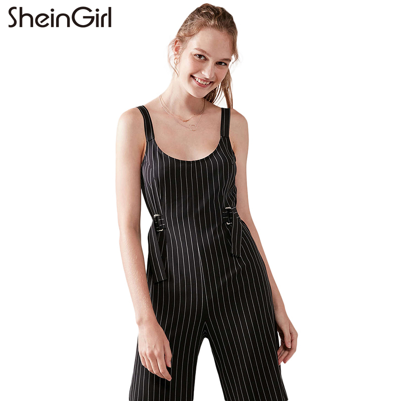 SheInGirl Brand 2018 Black Striped Preppy Style Jumpsuits Women Sleeveless Belt Waist Wide Leg Casual Jumpsuits Lady