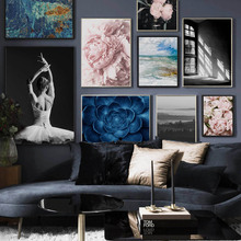 Ballet Girl Peony Succulents Wall Art Canvas Painting Seascape  Nordic Posters And Prints pictures For Living Room Decor