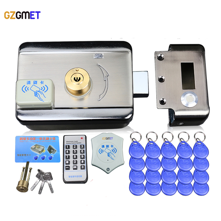 GZGMET Stainless Steel Electric Lock Entry Device Door Access Control System  ID Card Open  Door Intercom with 20 ID keys gzgmet stainless steel electric lock entry device door access control system id card open door intercom with 20 id keys