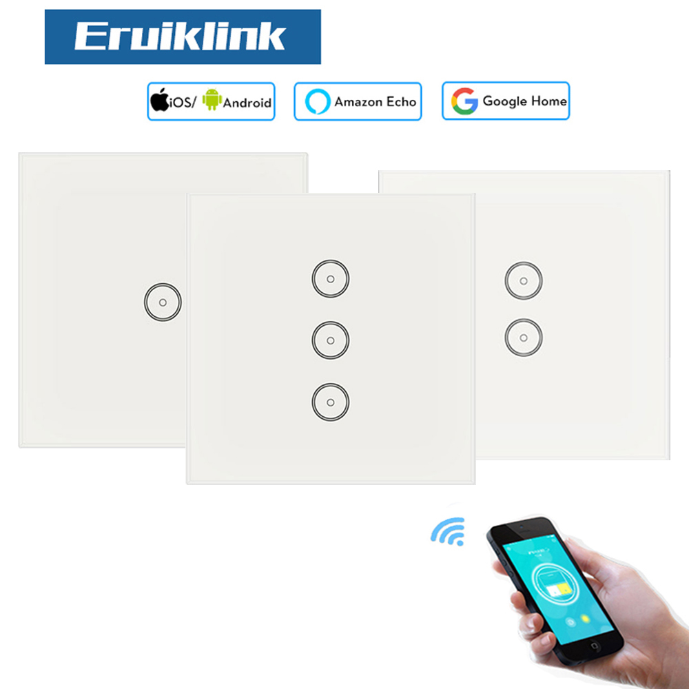 EU Smart WiFi / APP / Touch Control Wall Switch 1 Gang 2 Gang 3 Gang Wall Touch Switch Smart Home Control Light Work with Alexa opwt 001 1 2 3 gang wifi touch wall switch wifi wall switch smart home remote control switch support amazon alexa google home